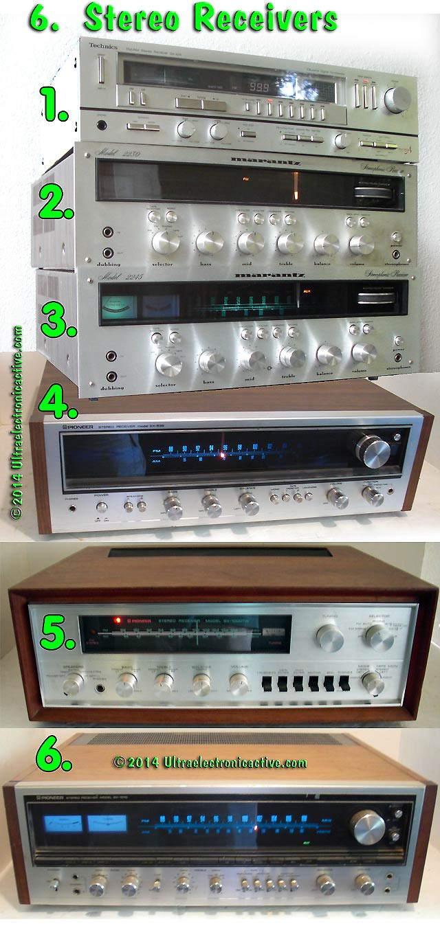 5 Vintage 70's Stereo Receivers