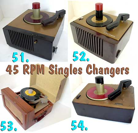 Selection of 4 1950's 45 RPM singles record players / changers